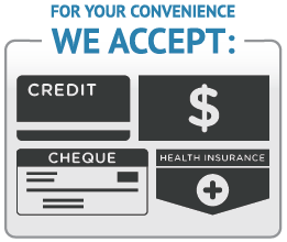 Cash, Cheque, Credit Card, or Health Insurance