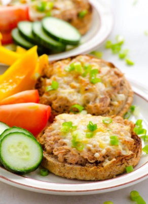 Tuna Melts with Veggies and Dip