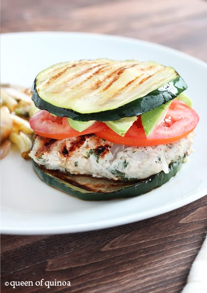 "BBQ Chicken and Zucchini ""Burger"""